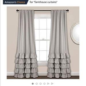Allison Ruffle Curtain Set Gray